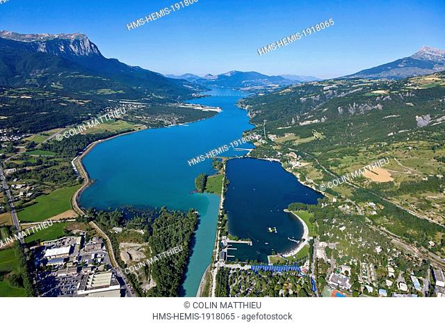 France, Hautes Alpes, Serre Poncon lake, Embrun, Chadenas, Clapiere, based recreational (aerial view)