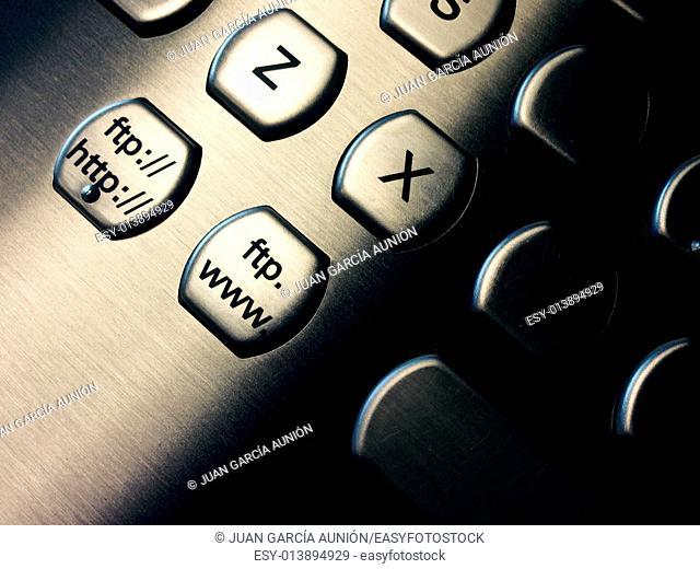 Aluminum pc keyboard closeup with ftp and web keys