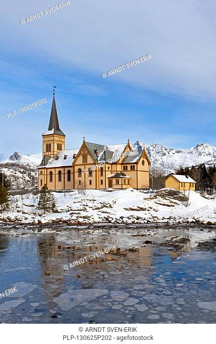 The church in winter of Kabelvåg, village in the municipality of Vågan, Austvågøya, Lofoten, Nordland county, Norway