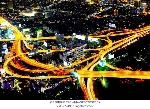 Sirat Expressway Interchange in the Huai Khwang district of Bangkok, Thailand