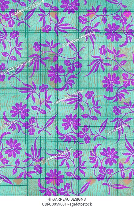 Floral design on aqua background
