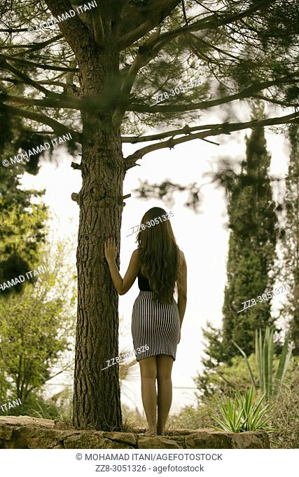 Rear view of a young woman standing in the woods hand touching the tree
