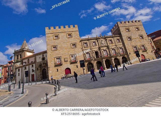 Revillagigedo Palace, Square of Marqués, Plaza del Marqués, Cimadevilla Old Town, Gijón, Asturias, Spain, Europe