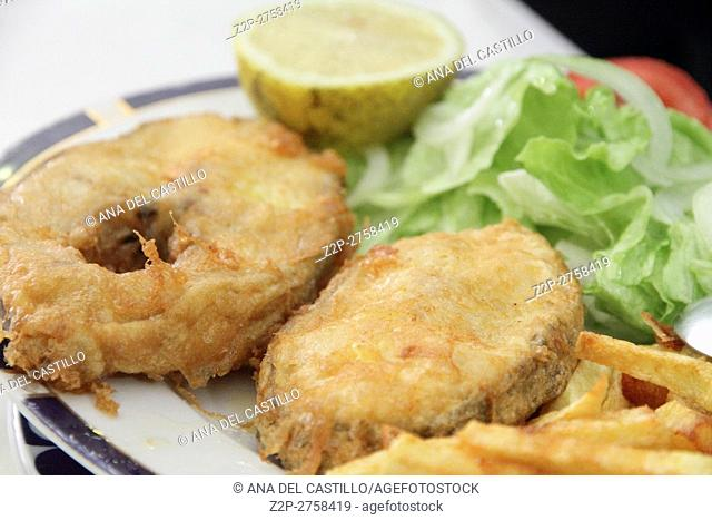 Slices of hake fish with lemon and salad on plate Spain