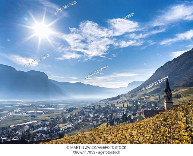 View towards Tramin (Termeno) with vineyards and the valley of the river Etsch towards Salurn. Europe, Central Europe, South Tyrol, Italy