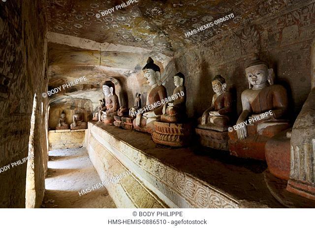 Myanmar (Burma), Sagaing Division, Monywa, Po Win Daung caves, troglodytics temple dated 14 th. century