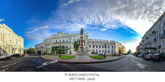 Catherine Square and Monument to empress Catherine the Great in a summer morning