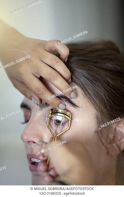 Woman Having Eyelashes Curled