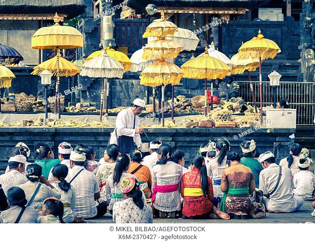 A prayer ceremony. Besakih Temple. Bali. Indonesia, Asia