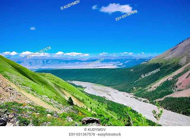 Altai mountains landscape from mountains pass. Pyrenees
