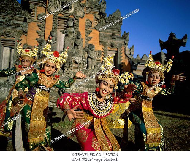 Legong Dancers / Girls Dressed in Traditional Dancing Costume, Bali, Indonesia