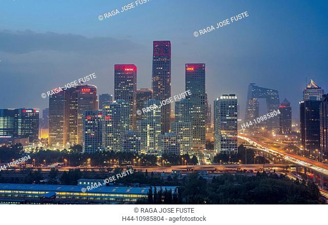 Guomao District in Beijing by night