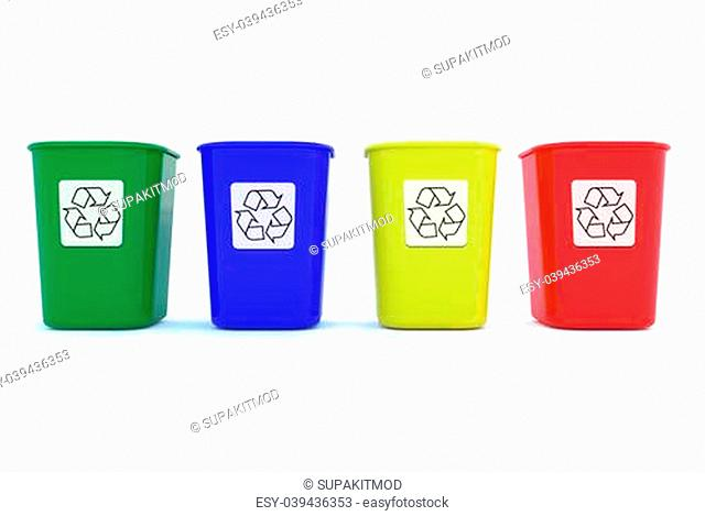 Colorful of plastic Recycle Bins with white background