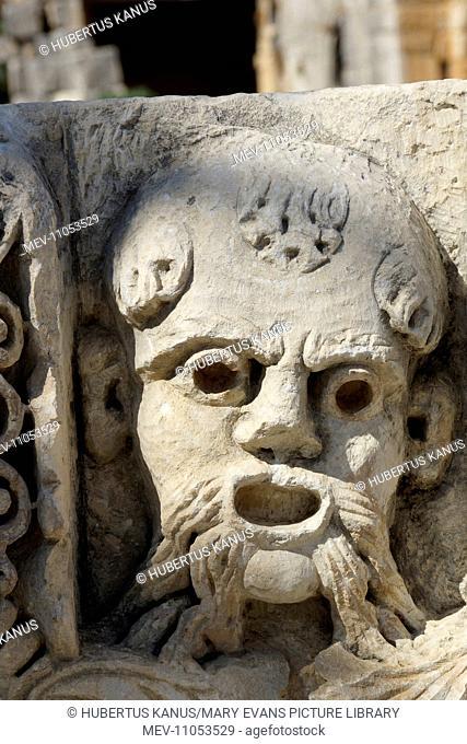 Turkey, Lykia, Myra: ' Mask' of a frieze (Theatre)