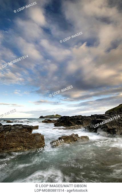 Landscape view of Godrevy Lighthouse in Cornwall