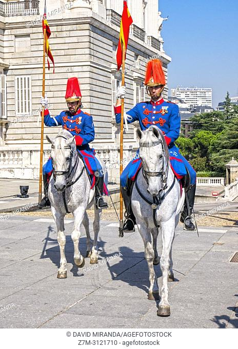 Changing of the guard. Royal Palace of Madrid, Spain