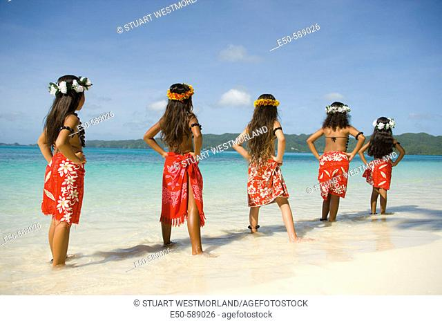 Girls (age 9) in Poynesian dance Outfits, Palau, Micronesia, Rock Islands, World Heritage Site, Western Pacific