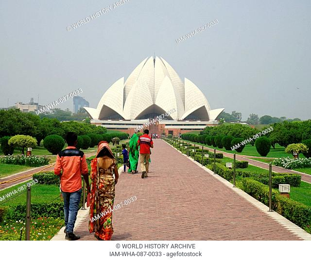 Exterior view of the Lotus Temple, a Baha'i House of Worship, in New Delhi, designed by Fariborz Sahba (1948-) an Iranian-American Baha'i architect