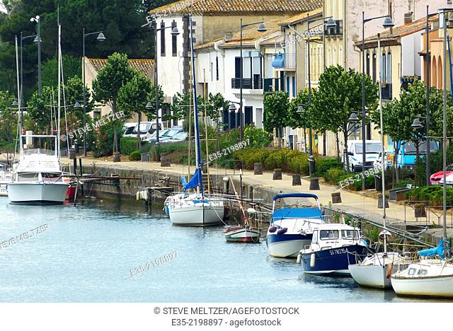 The shoreline of the Herault River in Agde, France