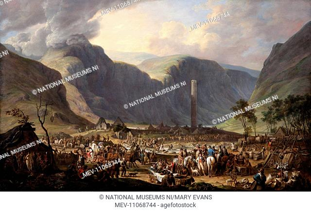 The Patron, or the Festival of St Kevin at the Seven Churches, Glendalough (1813). Peacock, Joseph c.1783-1837. This work shows the festivities surrounding the...