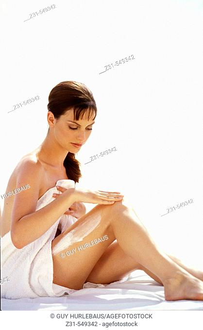 Cora,Towel,Sitting,Full-body,Cream Applying