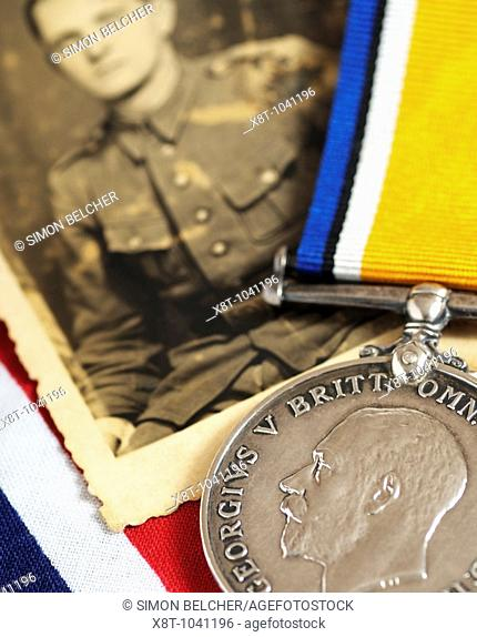First World War Medal and a Photograph of a Soldier
