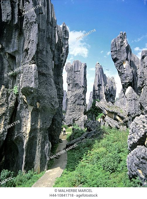 China, Asia, stone forest, Shilin County, Yunnan Province, southeast of Kunming, Asia, landscape, karst, rock, rocks