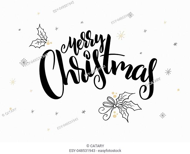 vector hand lettering christmas greetings text -merry christmas - with holly leaves and snowflakes