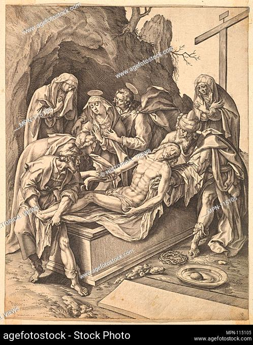 The Entombment. Artist: Hieronymus (Jerome) Wierix (Netherlandish, ca. 1553-1619 Antwerp); Artist: After Maerten de Vos (Netherlandish