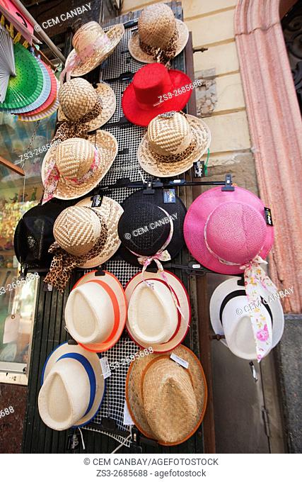Hats for sale in the city centre, Atlantic Ocean, Cadiz City, Andalusia, Spain, Europe