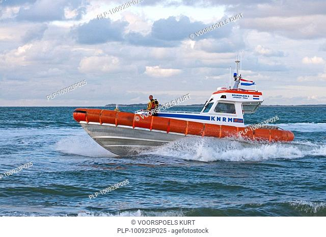Rescue boat during exercise at sea by the Dutch coast guard at Texel, the Netherlands