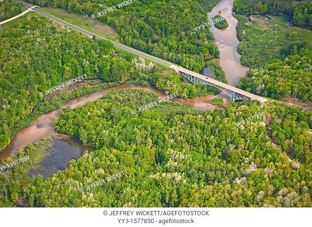 Cooley bridge over the Pine River running through the Huron-Manistee National Forest, Michigan, USA