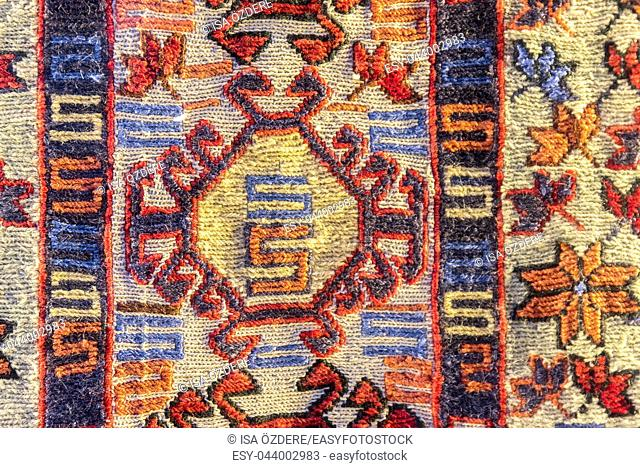 Handmade woven rug and tapestry,vintage carpets on a Turkish bazaar. Traditional Turkey rugs in Egypt Bazaar Turkey