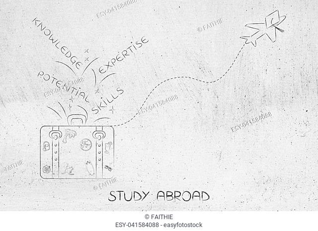 study abraod conceptual illustration: luggage with knowledge-related captions and airplane with graduation hat flying away