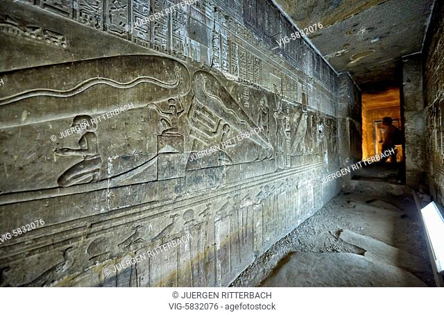EGYPT, QENA, 07.11.2016, stone carving inside Hathor temple in ptolemaic Dendera Temple complex, Qena, Egypt, Africa - Qena, Egypt, 07/11/2016