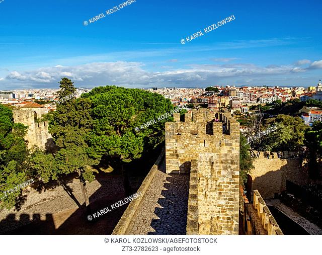 Portugal, Lisbon, View of the Sao Jorge Castle