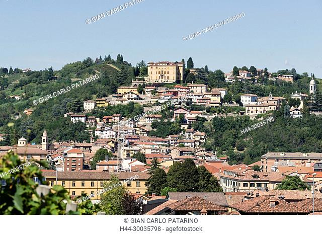 Italy, panorama of vineyards of Piedmont Langhe-Roero and Monferrato on the World Heritage List UNESCO. View of Canelli and the Gancia castle Italy, Piedmont