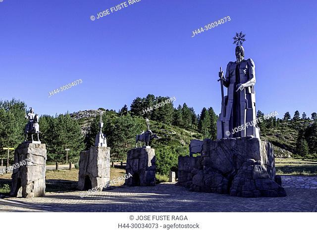 Spain, Aragon , Teruel Province, Tajo River birth spot, Monument