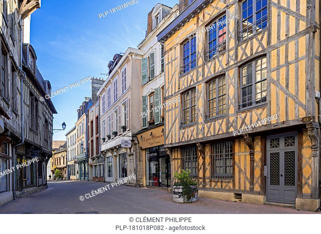 Traditional 16th century fronts of half-timbered houses in the old town / city of Troyes, Aube, Grand Est, France
