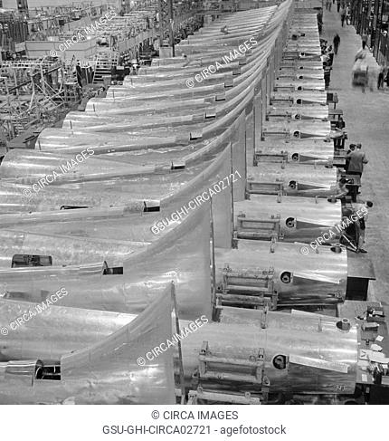 Row of Tail Sections of B-17F Bomber Ready for Assembly at Boeing Plant, Seattle, Washington, USA, Andreas Feininger for Office of War Information