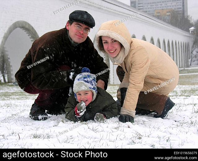 family of three. snow