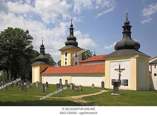 historic cemetery infront of the pilgrimchurch Maria Loreto at Starý Hroznatov, Altkinsberg, district of Cheb, Eger, Czech Republic