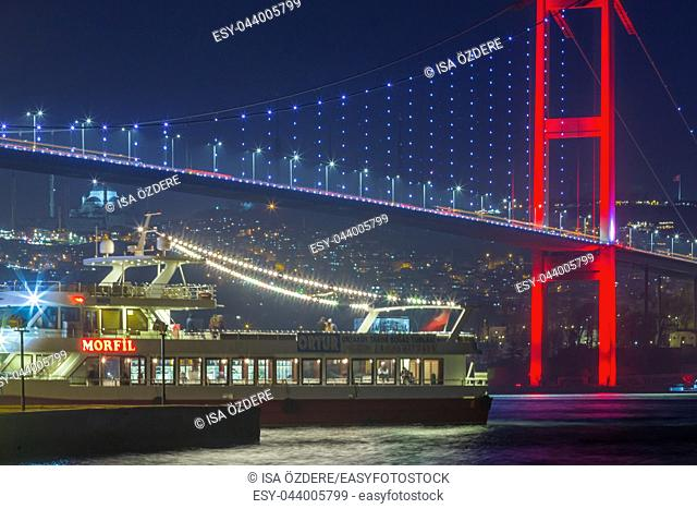 Night view of 15 July Martyrs Bridge or unofficially Bosphorus Bridge also called First Bridge over bosphorus in Istanbul,Turkey. 03 January 2018