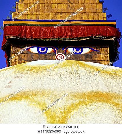 Kathmandu, Nepal, all sighted eye Buddhas, adoration, Asia, Baudha, construction, Bodhnath, Bodnath, Boudha, Buddhism