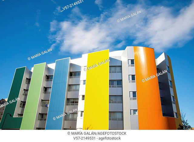 Facade of colorful building. Ensanche de Vallecas Avenue, Madrid, Spain