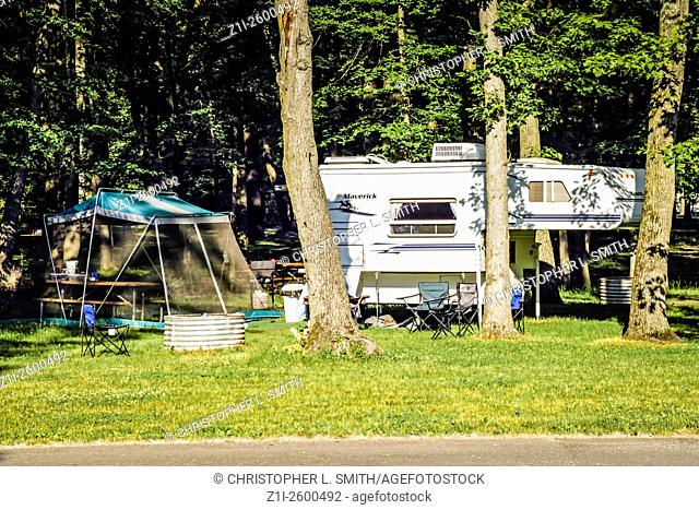 Motorhomes setup in a State Campground in Pennsylvania