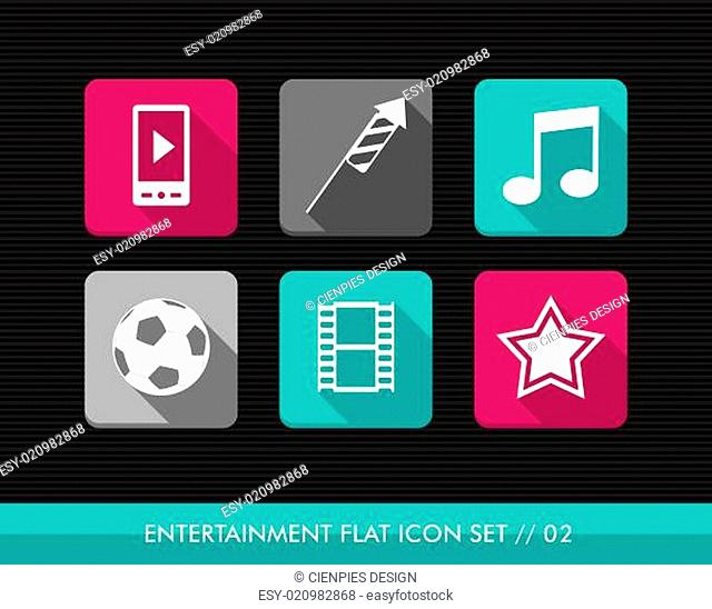 Entertainment flat icons set