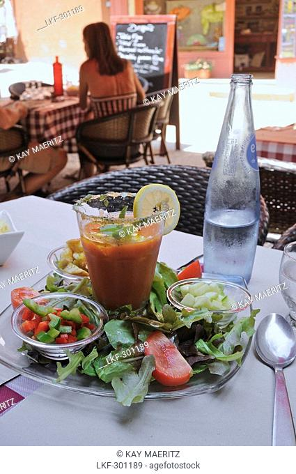 Gazpacho soup at a restaurant at Roussillon, Vaucluse, Provence, France, Europe