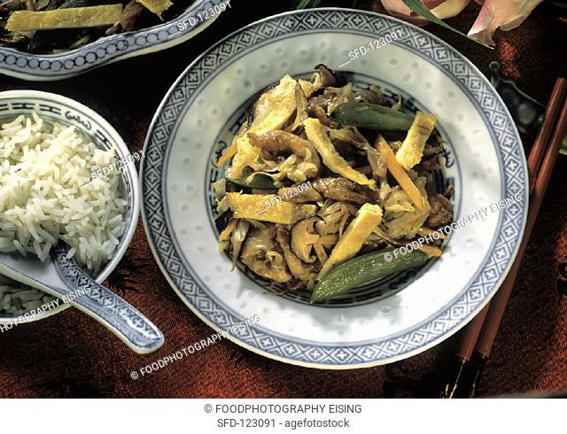 Pork Chop Suey with Vegetables and Mushrooms, White Rice