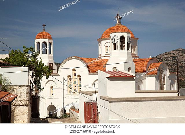 Church with bell tower and clock tower, Lasithi, Crete, Greek Islands, Greece, Europe
